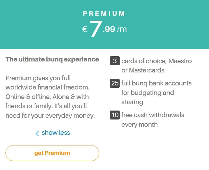 premium bunq rekening